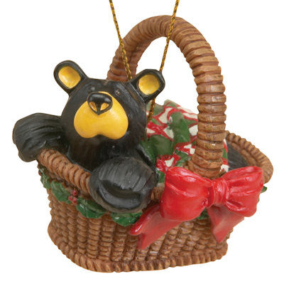 Bear in Picnic Basket Christmas Ornament