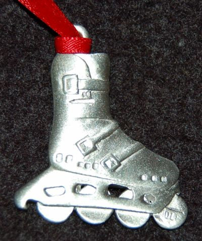 Pewter Rollerblading Christmas Ornament