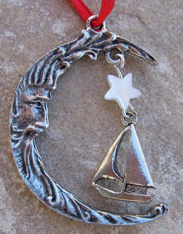 Sailboat & Moon  Christmas Ornament