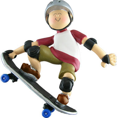 Male Skateboarder Christmas Ornament