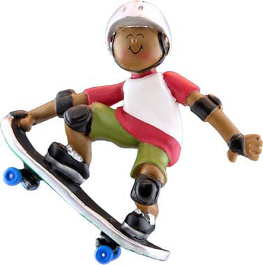 African-American Male Skateboarder Christmas Ornament