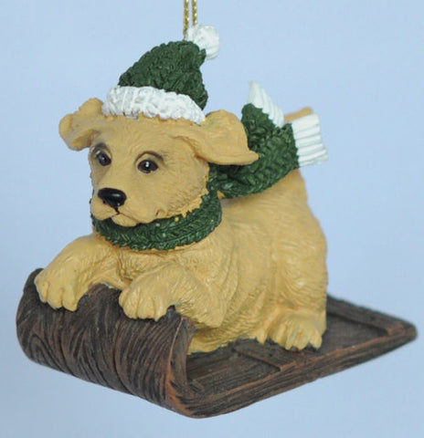 Yellow Lab Sledding Christmas Ornament
