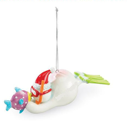 Snorkeling Snowman Christmas Ornament