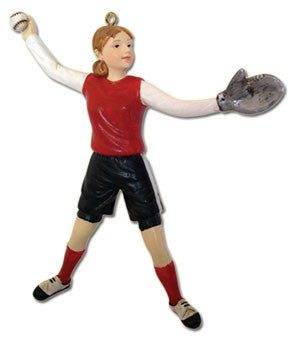 Girl Softball Player Christmas Ornament