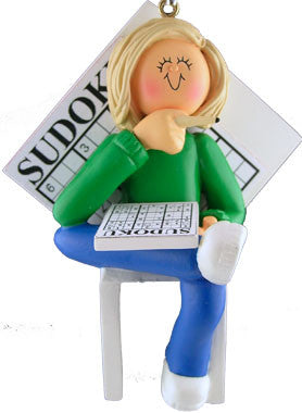 Blonde Female Sudoku Christmas Ornament
