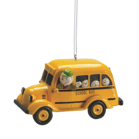 Snowman Driving Bus Resin Christmas Ornament
