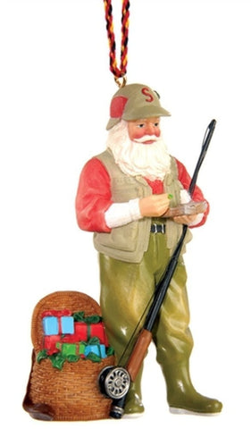 Outside Inside Fly Fishing Santa Ornament