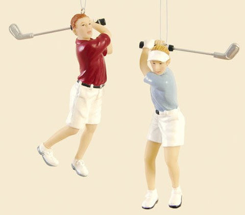 Swinging Golfer Christmas Ornaments (set of 2)