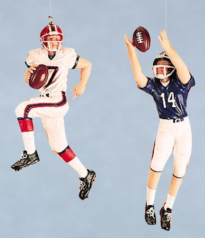 Football Player Christmas Ornaments (set of 2)