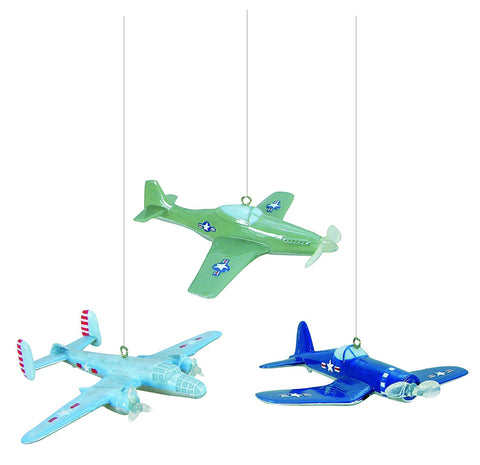 Vintage Airplanes Set of 3 Christmas Ornament