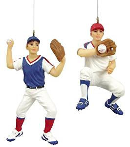 Baseball Player Christmas Ornament, Assortment of 2