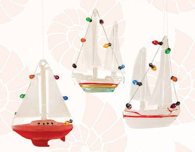 Festive Salboat Christmas Ornaments (set of 3)