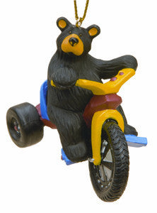 Bear Cub on Big Wheel Christmas Ornament