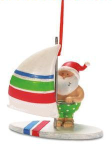 WindSurfing Santa Christmas Ornament
