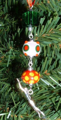 Swimmer with 3 Beads Christmas Ornament