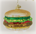 Old World Christmas Cheeseburger Glass Blown Ornament