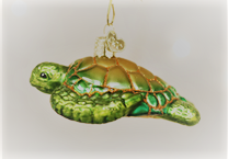 Old World Christmas Green Sea Turtle Glass Blown Ornament