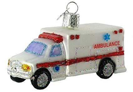Old World Christmas Ambulance Glass Blown Ornament