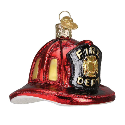 Old World Christmas Fireman's Helmet Glass Blown Ornament