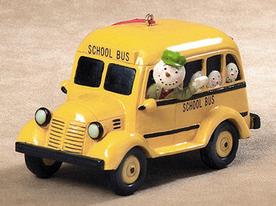 Snowman in School Bus Christmas Ornament