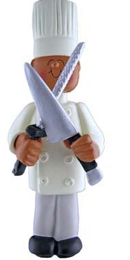 African-American Male Chef Christmas Ornament