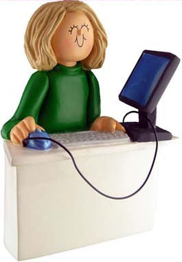 Blonde Female Computer Operator Christmas Ornament