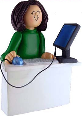 Brunette Female Computer Operator Christmas Ornament