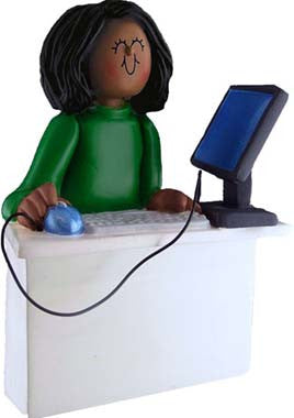 African-American Female Computer Operator Christmas Ornament