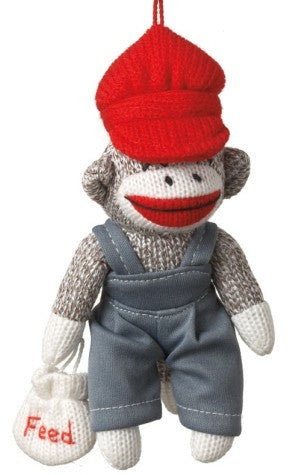 Sock Monkey Farmer Christmas Ornament