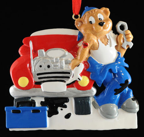 Auto Mechanic Bear Christmas Ornament