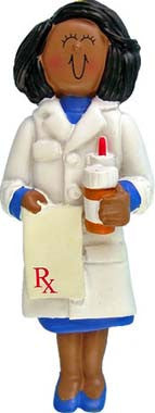 African-American Female Pharmacist Christmas Ornament