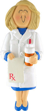 Blonde Female Pharmacist Christmas Ornament