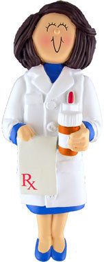 Brunette Female Pharmacist Christmas Ornament
