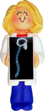 Blonde Female X-Ray Technician Christmas Ornament