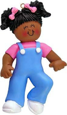 African-American Female Baby's First Steps Christmas Ornament