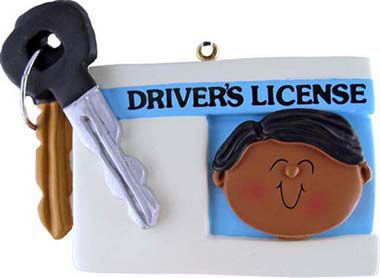 African-American Male Driver's License Christmas Ornament