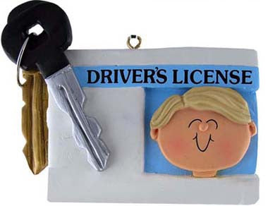 Blonde Male Driver's License Christmas Ornament