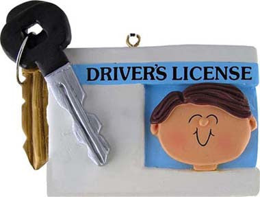 Brown Hair Male Driver's License Christmas Ornament