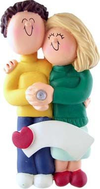 Blonde Female / Brown Hair Male Engaged Couple Christmas Ornament