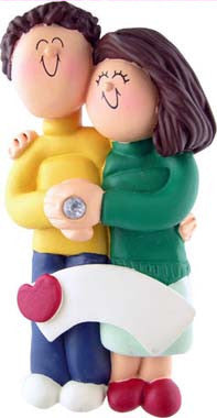 Brunette Female / Brown Hair Male Engaged Couple Christmas Ornament