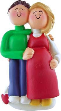 Blonde Female / Brown Hair Male Expecting Couple Christmas Ornament