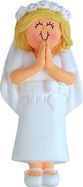 Blonde Female First Communion Christmas Ornament