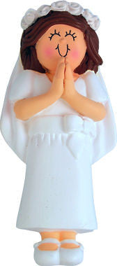 Brunette Female First Communion Christmas Ornament