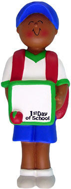 African-American Male First Day of School Christmas Ornament
