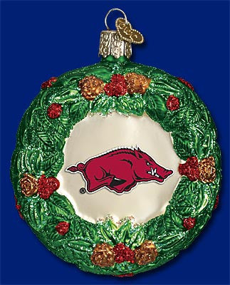 Arkansas Wreath Christmas Ornament