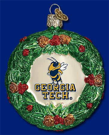 Georgia Tech Wreath Christmas Ornament