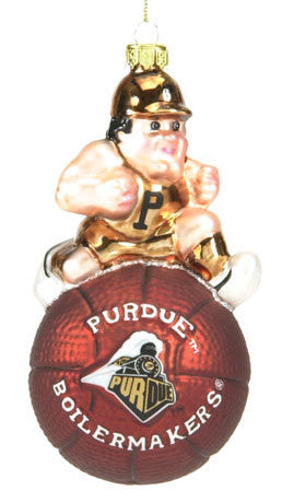 Purdue Glass Mascot Basketball Christmas Ornament