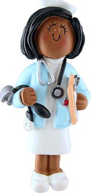 African-American Female Nurse Christmas Ornaments