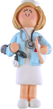 Blonde Female Nurse Christmas Ornaments