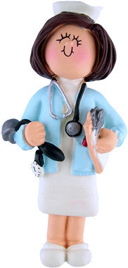 Brunette Female Nurse Christmas Ornaments